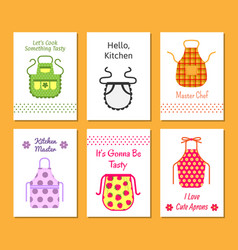 Colorful kitchen aprons with patterns icons set vector