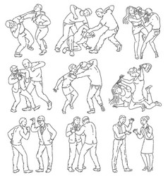 coloring book page people fighting vector image