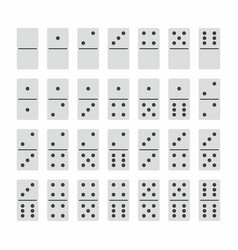 Complete set of domino stones in white vector