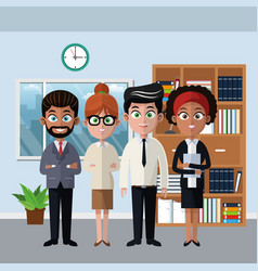 Coworkers at office cartoons vector