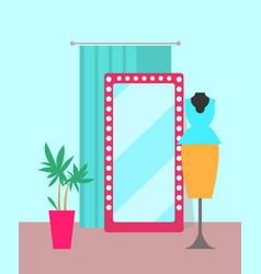 Cozy shop with big mirror vector