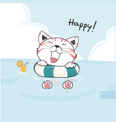 Cute happy cat in life ring on sea drawing vector