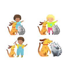 doggy and cat pets friends playing with kids vector image