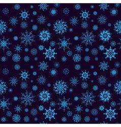 Elegant neon blue snowflakes of various styles vector image