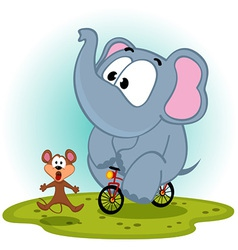 Elephant on bike catches mouse vector