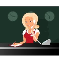 Female blond receptioonist is taking a call vector