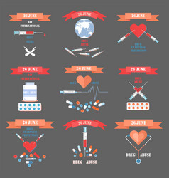 fight against drug abuse agitative emblems set vector image