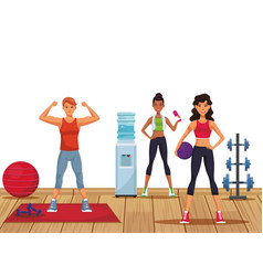 Fitness people at gym vector