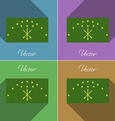 Flags Adygea Set of colors flat design and long vector image