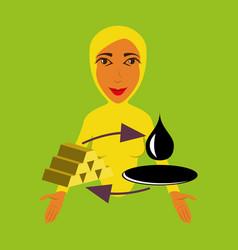Flat icon on theme arabic business arab woman vector