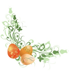 floral frame decorated with easter eggs vector image