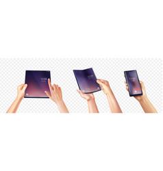 foldable smartphone hands set vector image