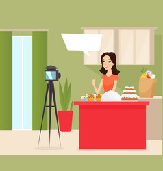 food blogger flat young vector image