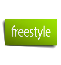 Freestyle green paper sign isolated on white vector