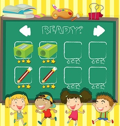 Game template with students in classroom vector image