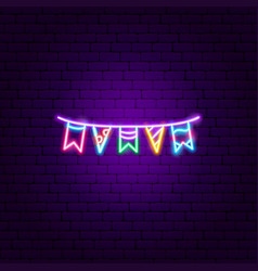 garland flags neon sign vector image