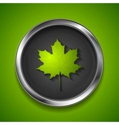 Green summer maple leaf on metal button vector