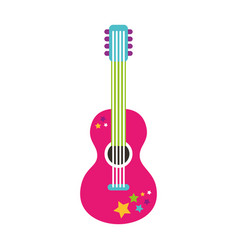 guitar hippie style icon vector image
