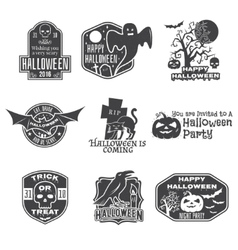 Halloween vintage badges emblems or labels vector