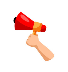 Hand with megaphone isolated vector