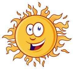 happy cartoon yellow sun character smiling vector image