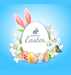 happy easter day easter eggs with lilies vector image