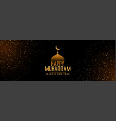happy muharram beautiful festival golden banner vector image