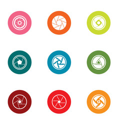 indoor lens icons set flat style vector image