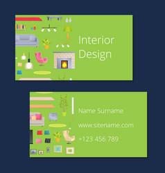 Interior design calling card vector