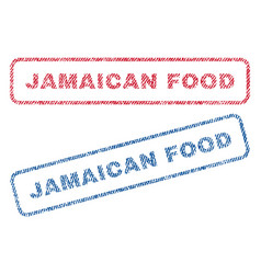 Jamaican food textile stamps vector