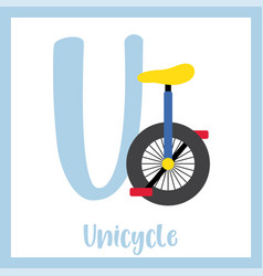 Letter u vocabulary unicycle vector