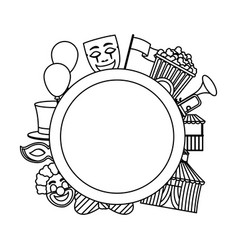 Line circle emblem with carnival entertainment vector