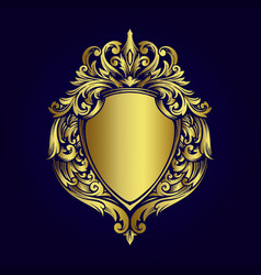 luxury gold frame badge vintage ornaments style vector image