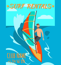 man is riding surf surf rental windsurf rental vector image