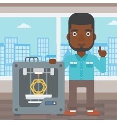 Man with three D printer vector