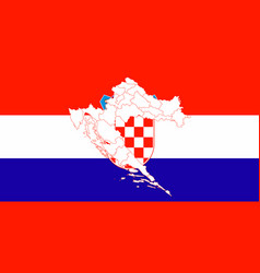 Map and flag of croatia vector