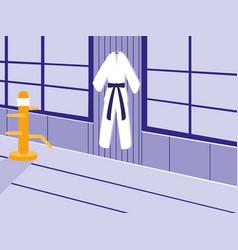 Martials arts dojo scene vector