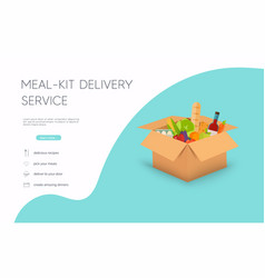 Meal-kit delivery service online ordering food vector