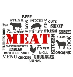 Meat Text set of butcher vector