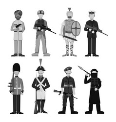 military soldier character weapon monochrome armor vector image