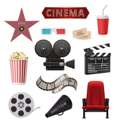 movie realistic cinema objects camera camcorder vector image