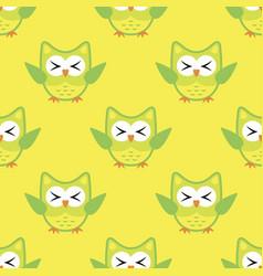 owl stylized art seamless pattern yellow green vector image
