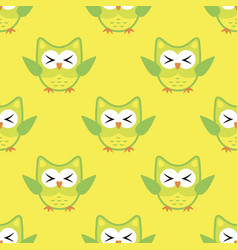 owl stylized art seemless pattern yellow green vector image
