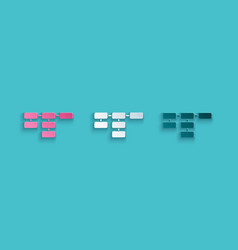 Paper cut site map icon isolated on blue vector