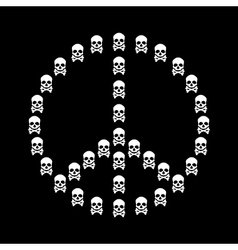 Peace sign isolated with white skull shape vector