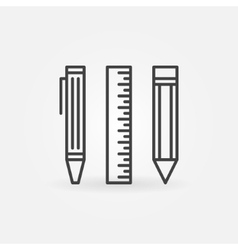 Pencil ruler and pen icon vector image