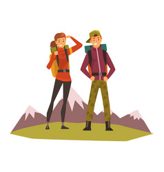 people travelling couple hiking mountain vector image