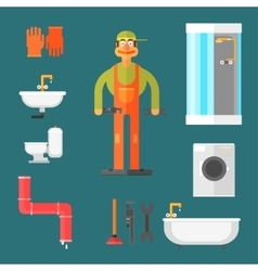 Plumber and Equipment vector