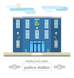 Police station building set for create cityscapes vector