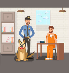 Prisoner and police officer flat vector